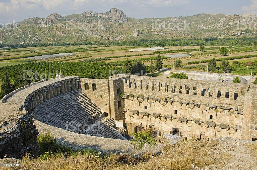 The Roman theater in Aspendos, Turkey stok fotoğrafı