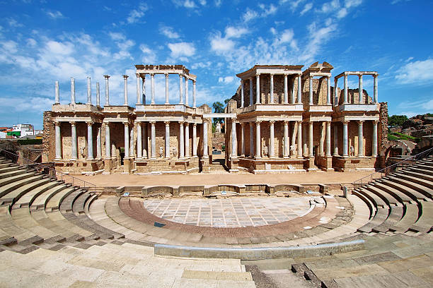 The Roman Theatre (Teatro Romano) at Merida The Roman Theatre (Teatro Romano), Merida, Extremadura (Spain) amphitheater stock pictures, royalty-free photos & images