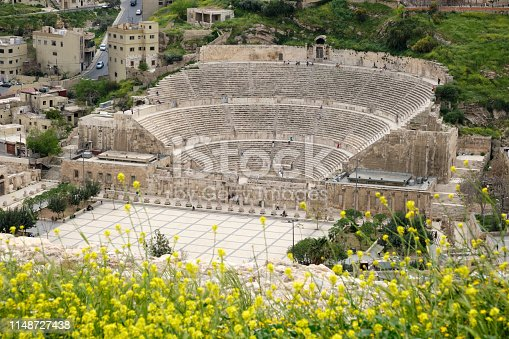 The Roman Theatre from above during spring, Amman, Jordan