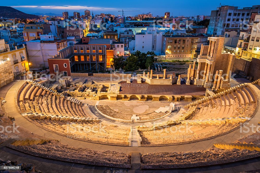 The Roman Theatre in Cartagena, Spain stock photo