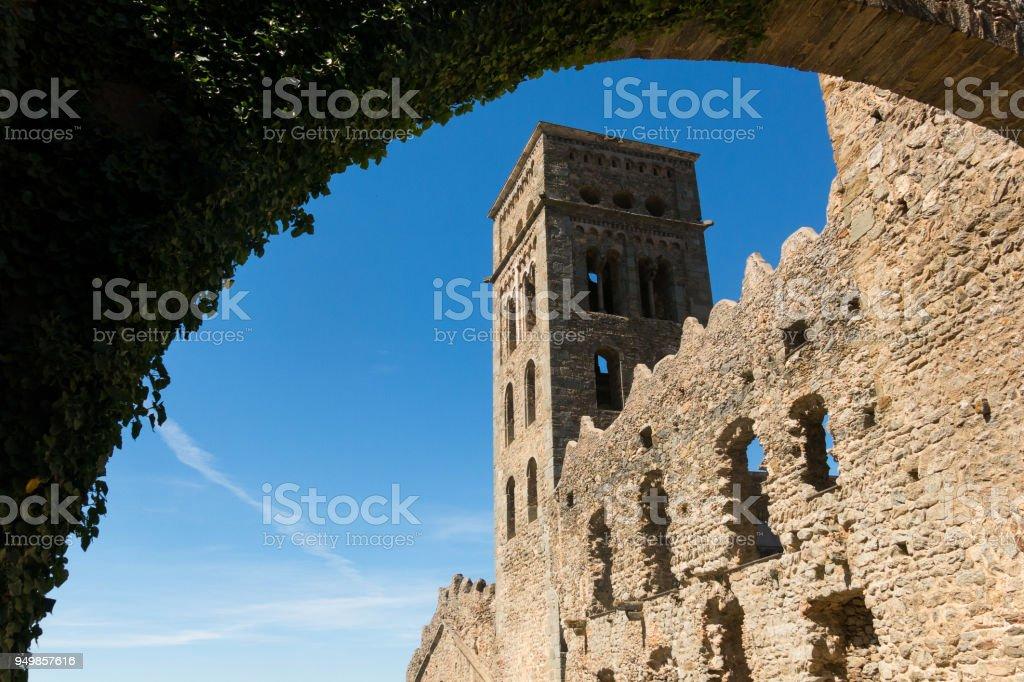 The Romanesque abbey of Sant Pere de Rodes, in the municipality of El Port de la Selva. Girona, Catalonia stock photo