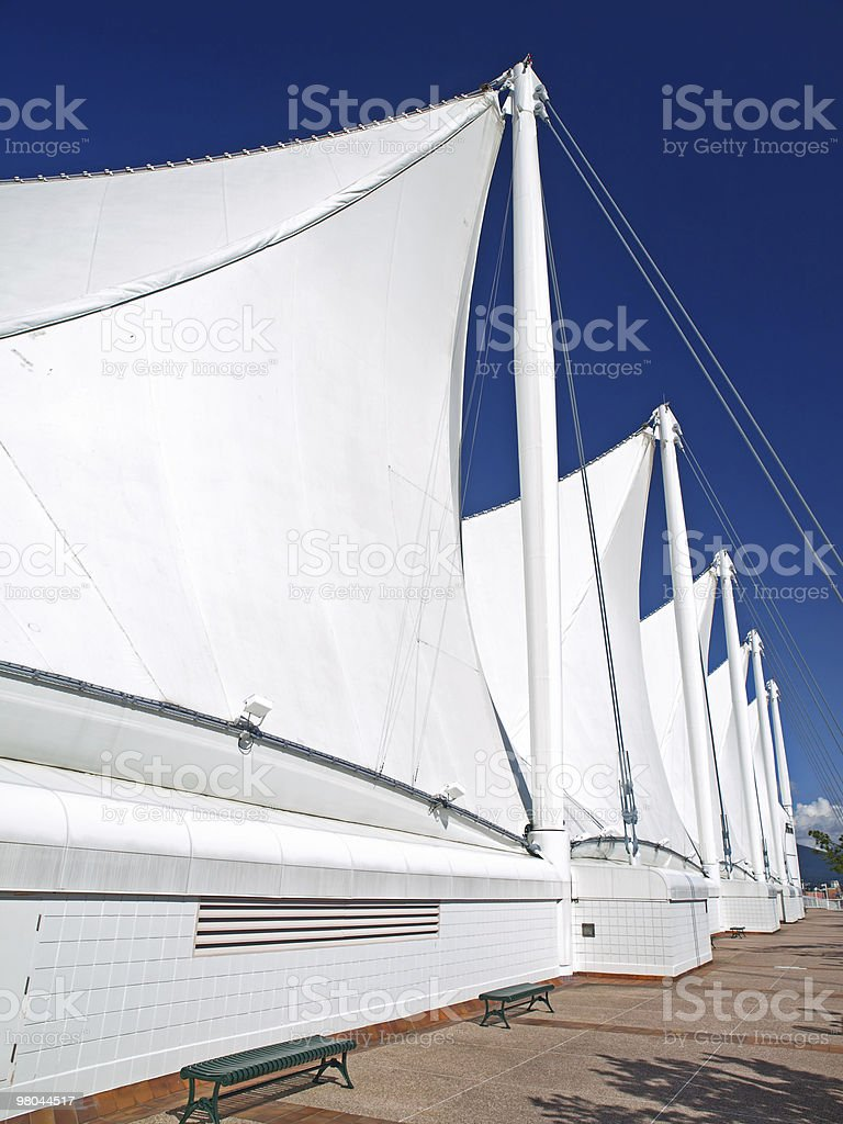 The Roof of Canada Place with White Sails in Vancouver royalty-free stock photo