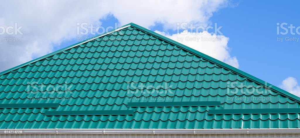 The roof of corrugated green sheet stock photo