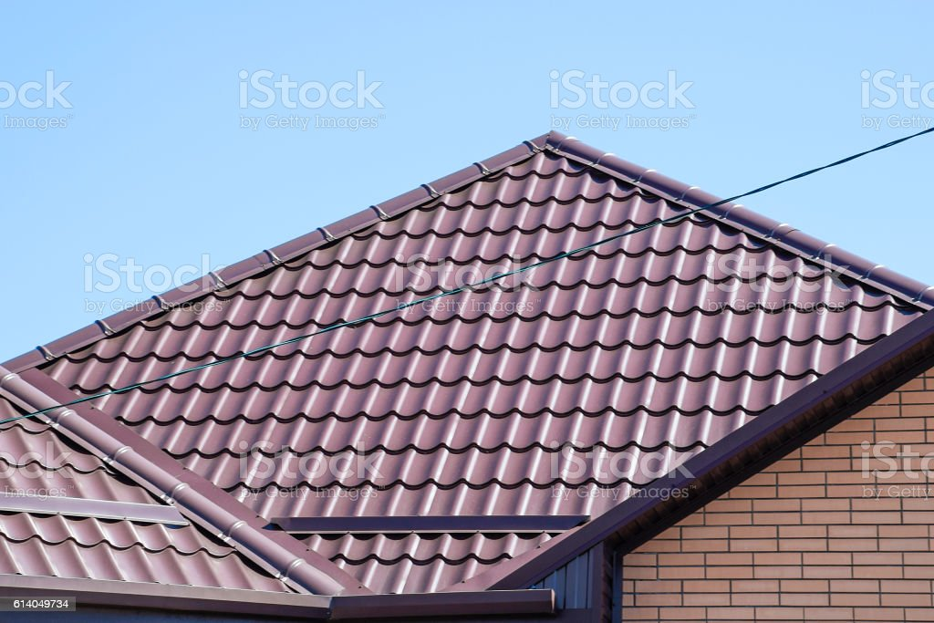 The roof of corrugated sheet stock photo