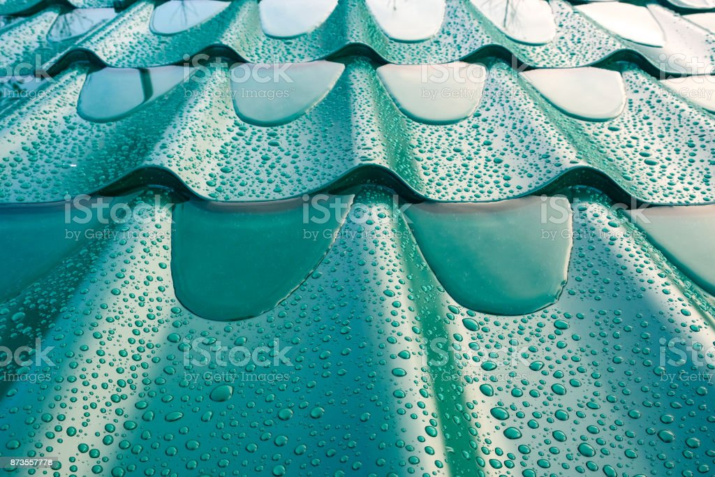 the roof of metal stock photo