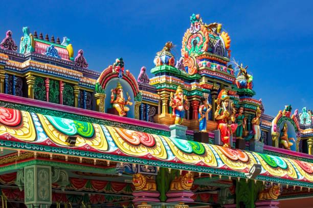 The roof of Sri Maha Mariamman Devasthanam, Hindu temple on the island of Langkawi, Andaman Sea, state of Kedah, Malaysia. stock photo