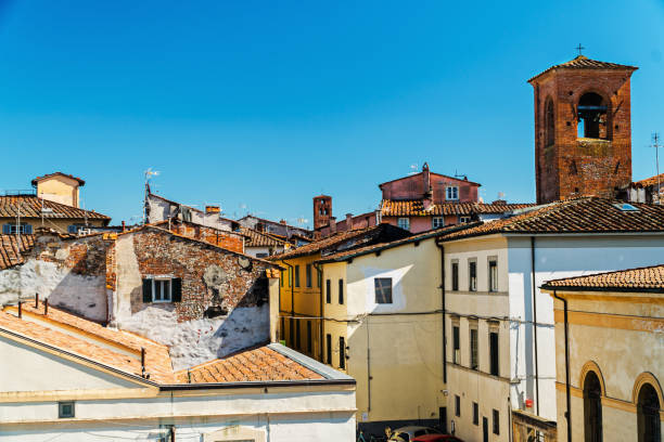 The roofs of Lucca, Italy stock photo