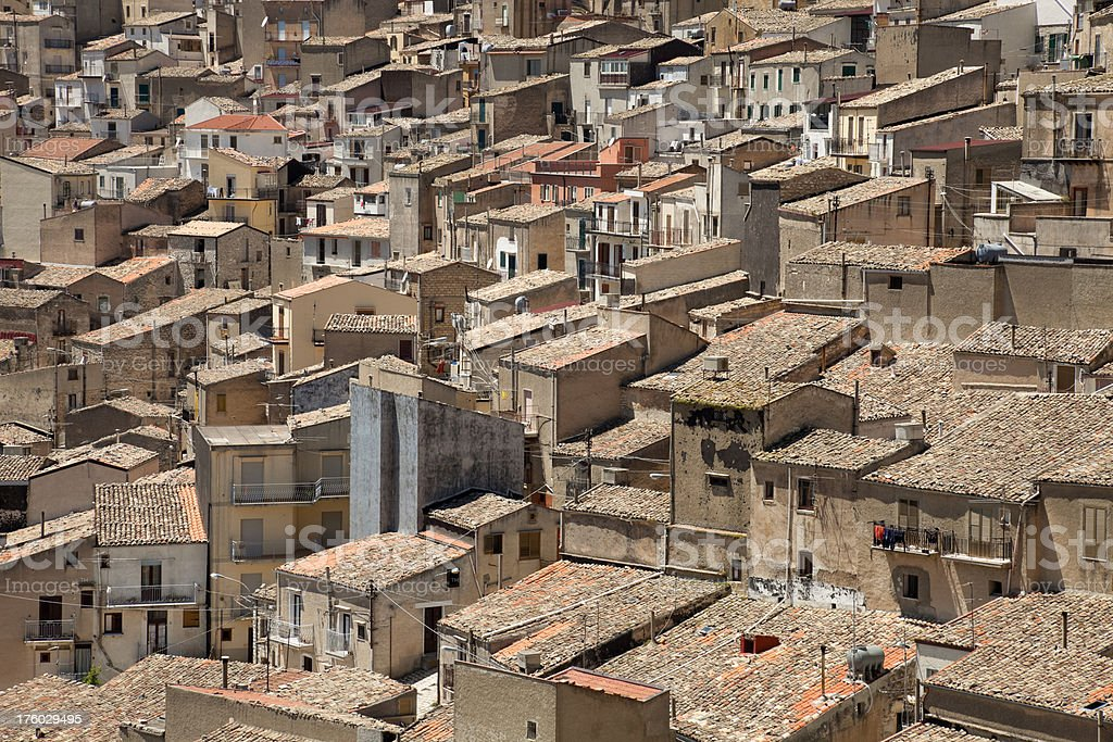 The roofs of Prizzi, Sicily, Italy royalty-free stock photo