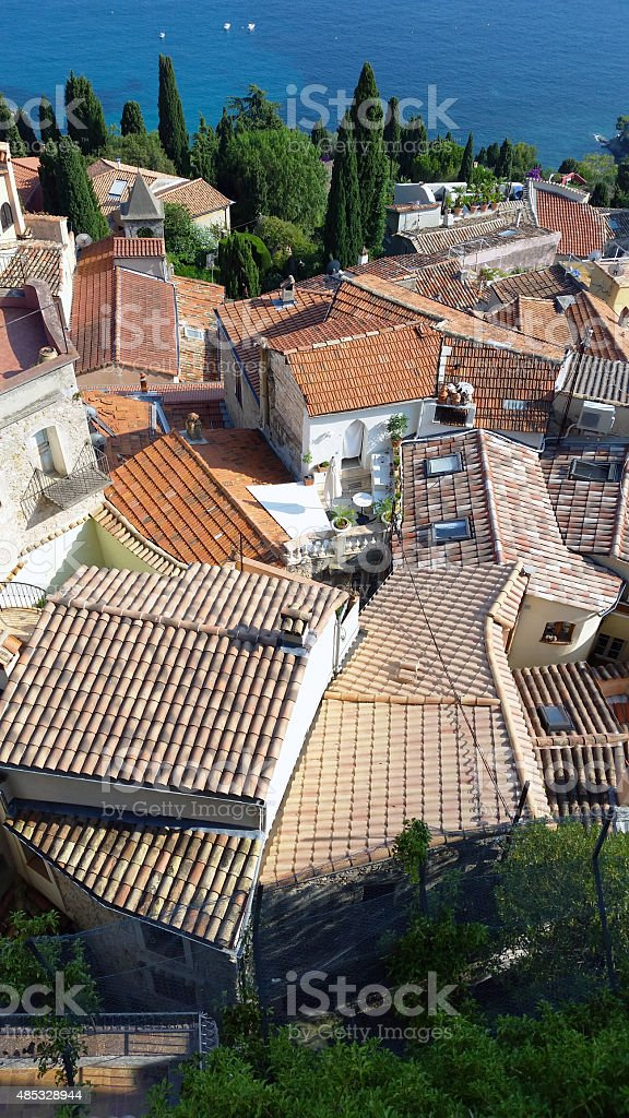 The Roofs of Roquebrune Cap Martin stock photo