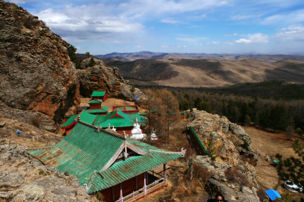 The roofs of Tovkhon Monastery, Ovorkhangai Province, Mongolia. UNESCO World Heritage Site. stock photo
