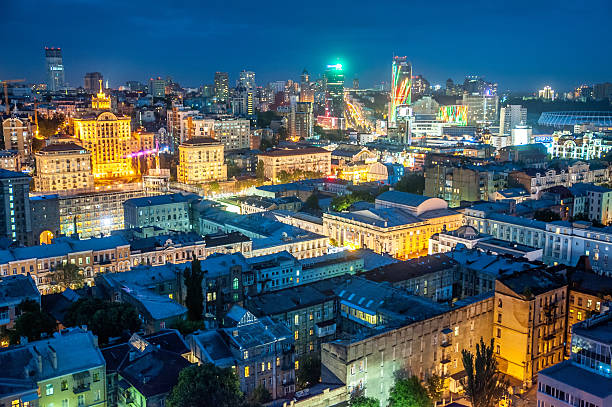 The rooftop view to the Kyiv city stock photo