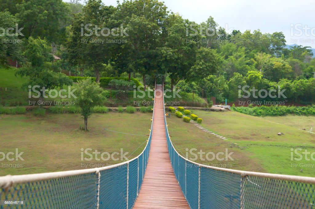 The rope bridge in the park directly onto the solitary island on the lake 免版稅 stock photo