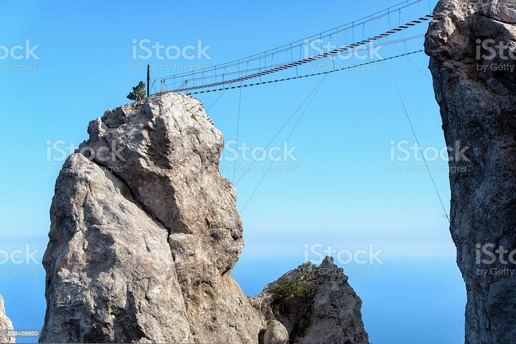 The rope bridge on the Mount Ai-Petri, Crimea stock photo