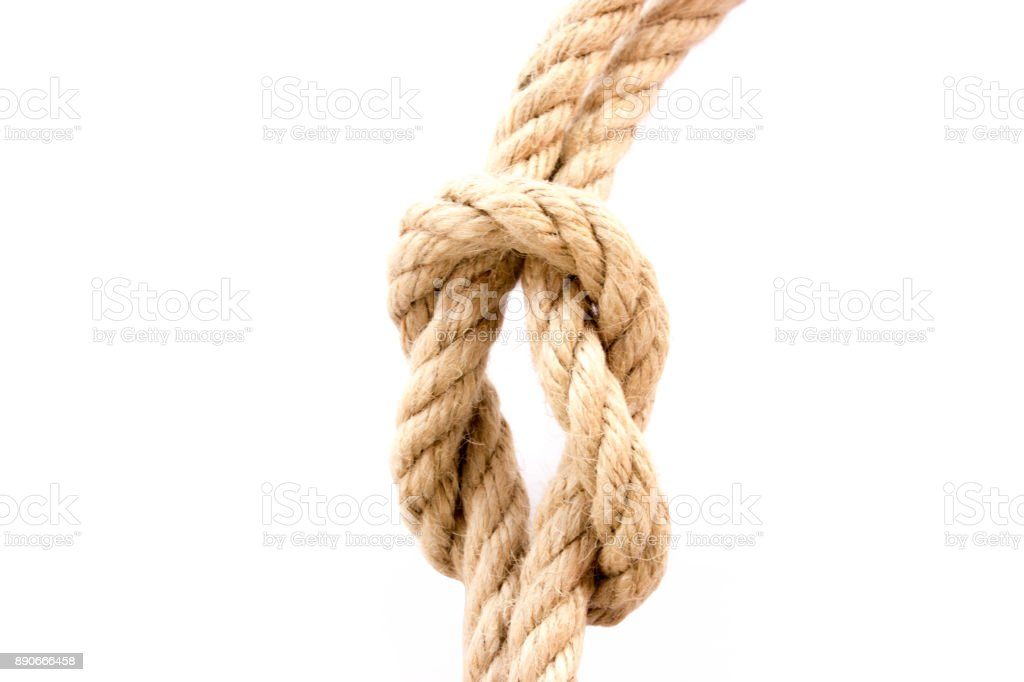 The rope with knot on a white background stock photo