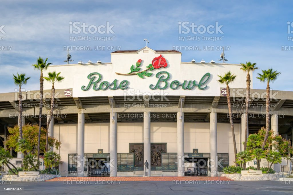 The Rose Bowl Stadium Exterior and Logo stock photo