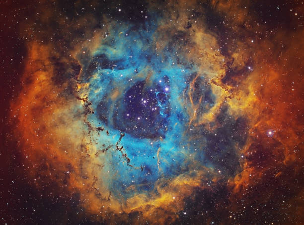 The Rosette Nebula (NGC 2237, Caldwell 49) in the constellation of Monoceros, HST image The Rosette Nebula (NGC 2237, Caldwell 49) is the large hydrogen, sulfur and oxygen gas cloud in the constellation of Monoceros. The open star cluster NGC 2244 (Caldwell 50) consists of stars being formed from the nebula. The nebula is 5,200 light years away from Earth. Amateur image, total exposure time: 15h45m, HST palette image. nebula stock pictures, royalty-free photos & images