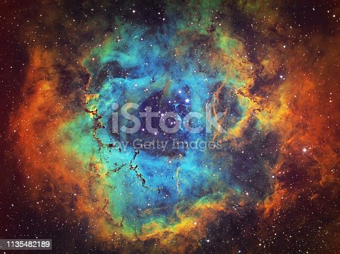 istock The Rosette Nebula (NGC 2237, Caldwell 49) in the constellation of Monoceros, HST image 1135482189
