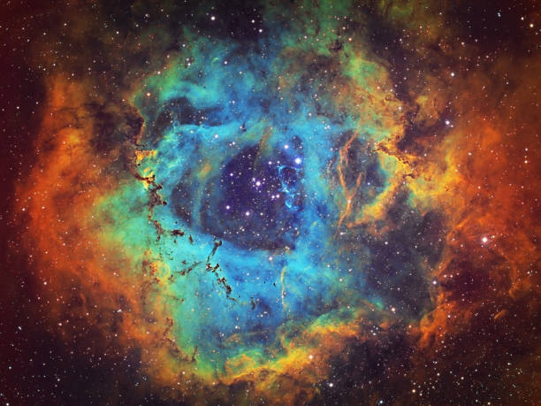 the rosette nebula (ngc 2237, caldwell 49) in the constellation of monoceros, hst image - space foto e immagini stock