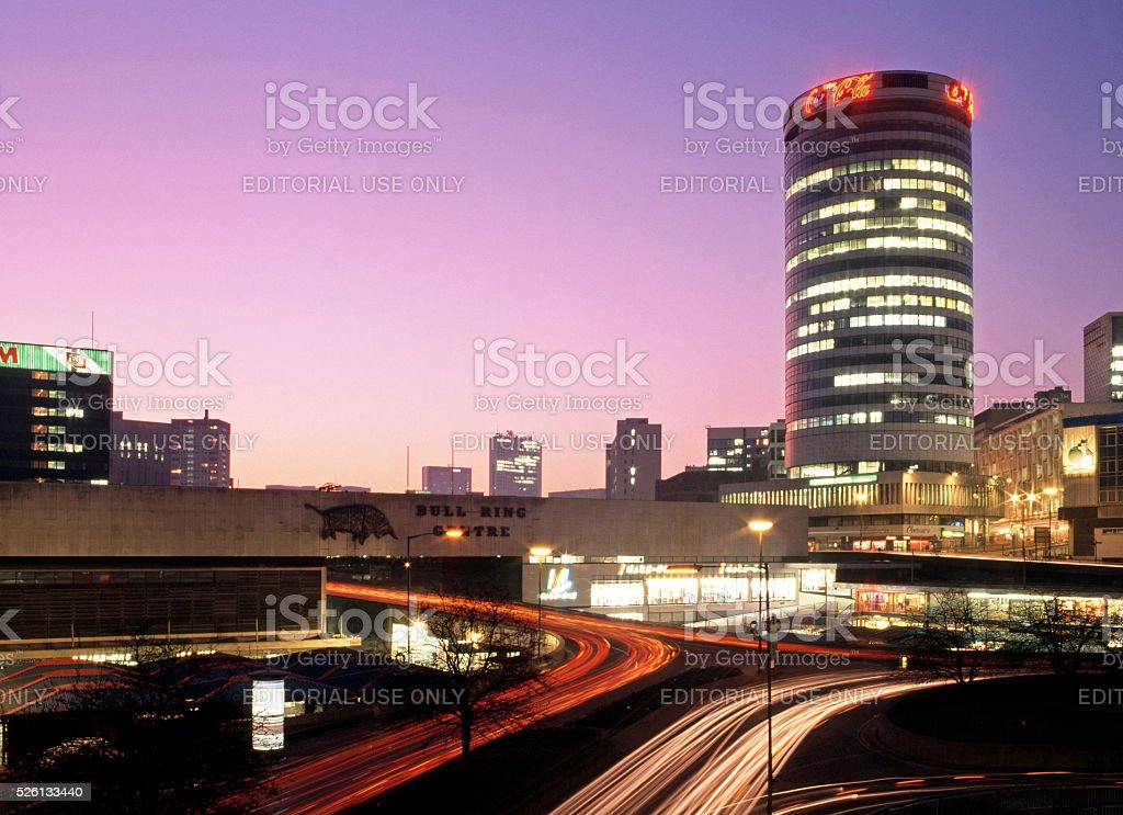 The Rotunda and Bull Ring at sunset, Birmingham. stock photo