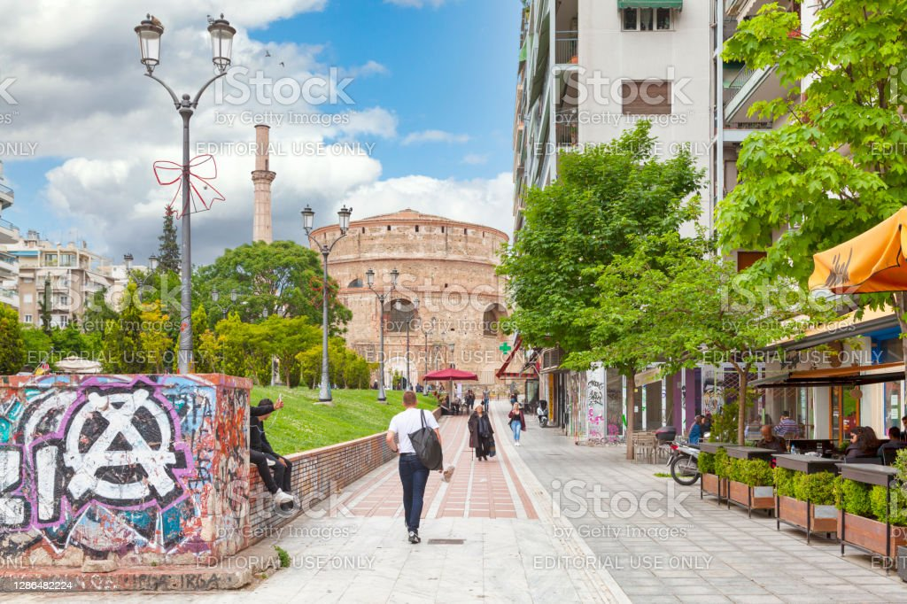 The Rotunda of Thessaloniki Thessaloniki, Greece - May 04 2019: The Rotunda (Greek: Ροτόντα) was erected in early 4th-century AD monuments located in the city center. Ancient Stock Photo