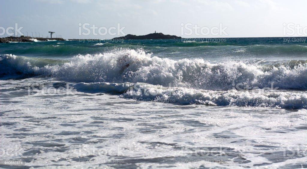 The rough sea in Umag stock photo