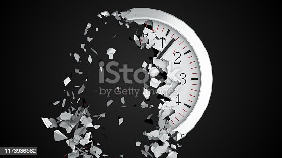 istock The round dial of a wall clock destructs into small fragments on a black background. Computer generated abstract background, 3d rendering 1173936562