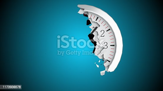 istock The round dial of a wall clock destructs into small fragments on a black background. Computer generated abstract background, 3d rendering 1173936578