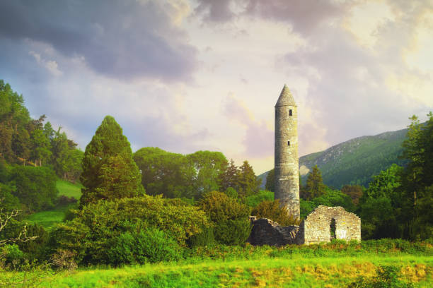 The Round Tower in the old Glendalough Monastic Site, County Wicklow, Ireland stock photo