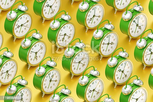 Arranged to rows vintage alarm clocks which are standing one after another on yellow reflective surface. 3D rendering graphics.