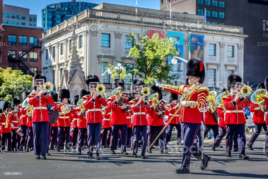 The royal army of Canada changing guard in Ottawa while playing music instruments in Ottawa in Canada stock photo