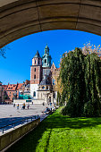 Krakow, Poland - October 11, 2018: The Royal Castle with Wawel Cathedral on Wawel Hill in the city of Krakow in Poland.  In 1978 Wawel Royal Castle was declared a UNESCO World Heritage Site as part of the Historic Centre of Kraków.