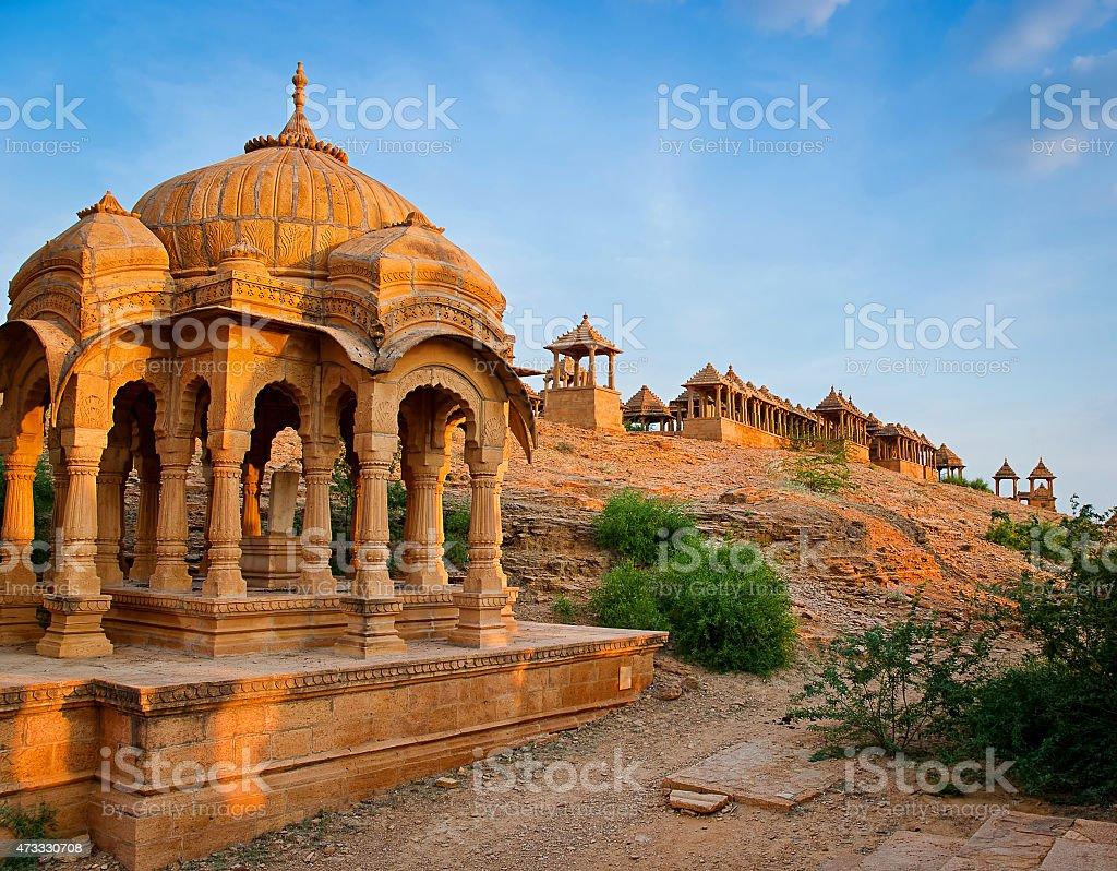 The royal cenotaphs, Jaisalmer, Rajasthan, India. stock photo