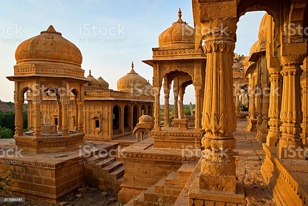 The royal cenotaphs of historic rulers, also known as Jaisalmer stock photo