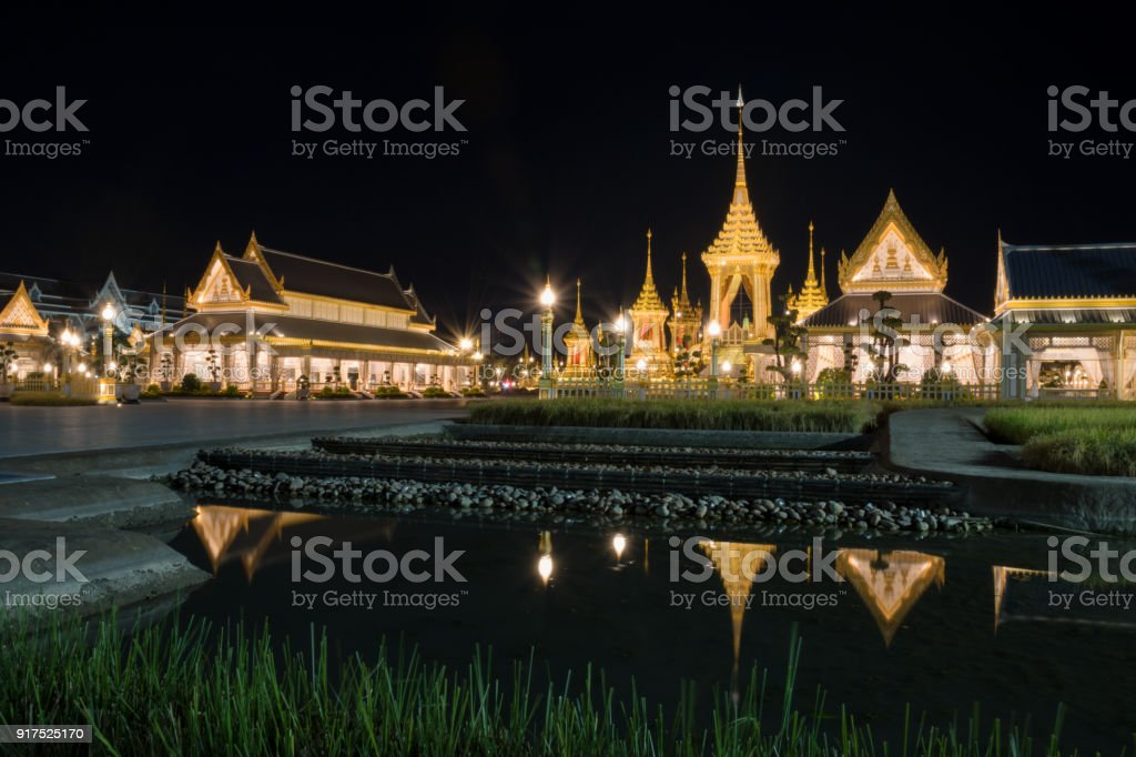 The Royal Crematorium for His Majesty King Bhumibol Adulyadej and pavilions stock photo