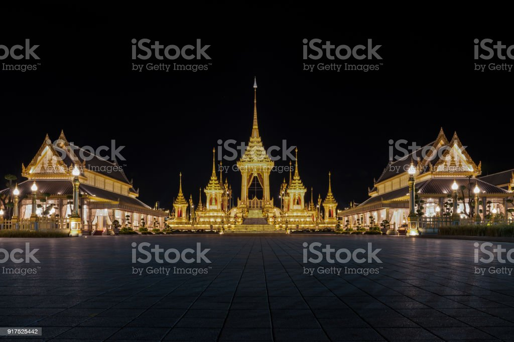 The Royal Crematorium for His Majesty King Bhumibol Adulyadej and pavilions. stock photo
