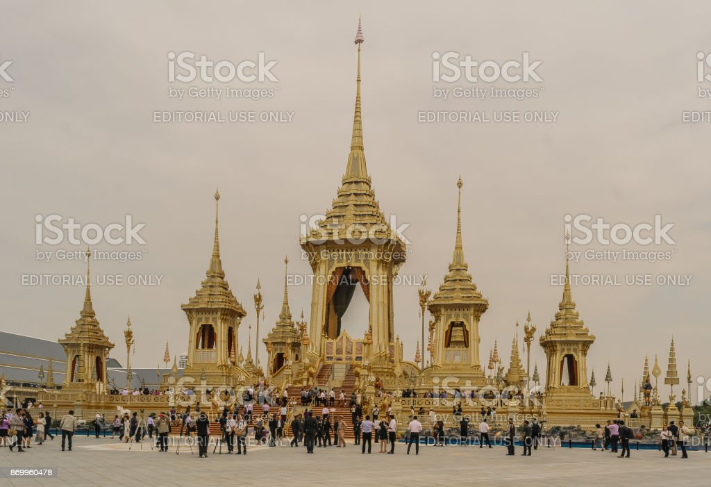 The Royal Crematorium for HM King Bhumibol now opening is a monumental exhibition. stock photo