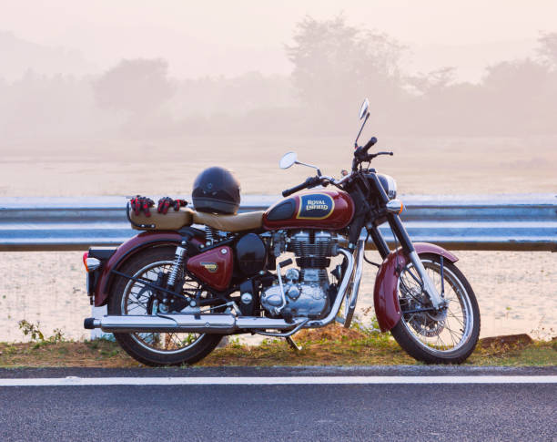 The Royal Enfield motorcycle, Famous motorbike in India stock photo