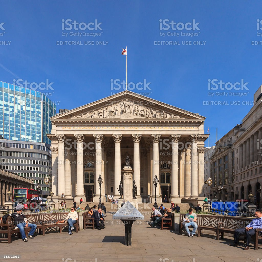 The Royal Exchange in London stock photo