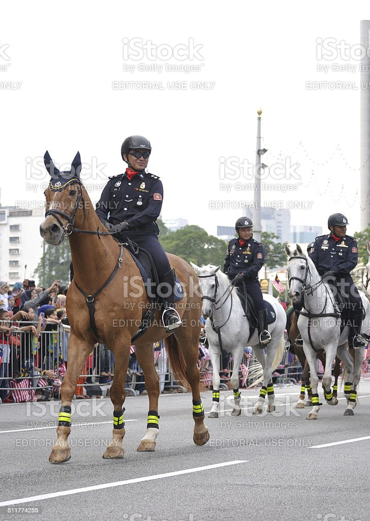 The Royal Malaysia Police horse unit during 57th Malaysia Independence Day stock photo