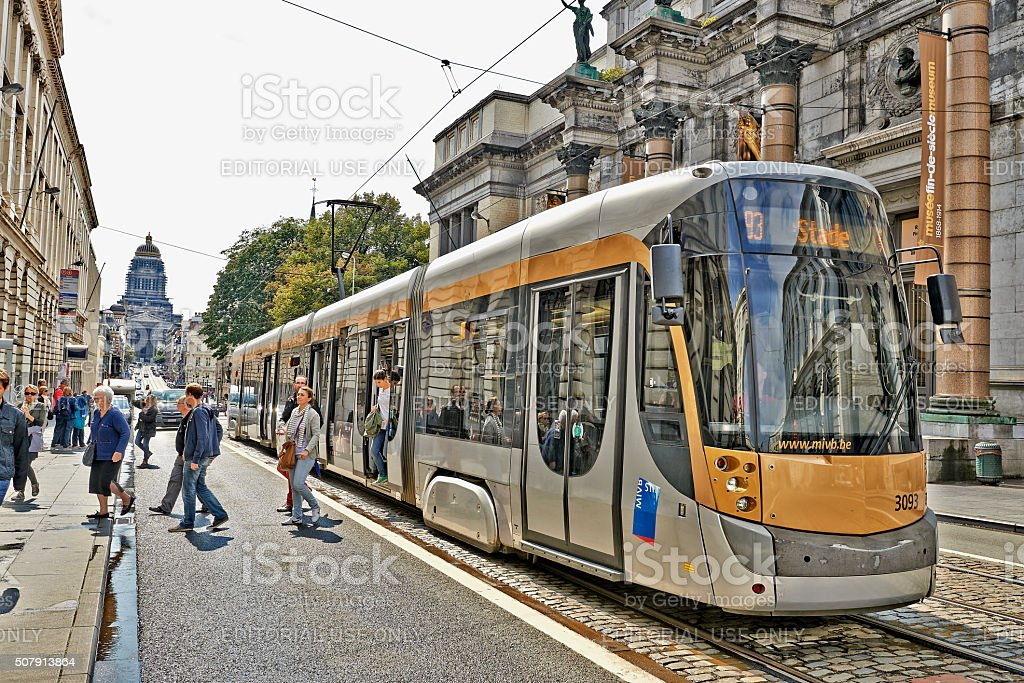 The Royal Museum of Belgium and Brussels public transport stock photo