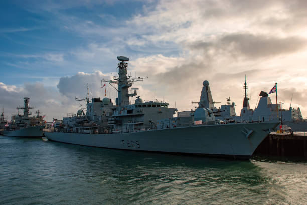 The Royal Navy Frigate HMS Lancaster (F229) moored in Portsmouth, UK The Royal Navy Frigate HMS Lancaster (F229) moored in Portsmouth, UK naval base stock pictures, royalty-free photos & images