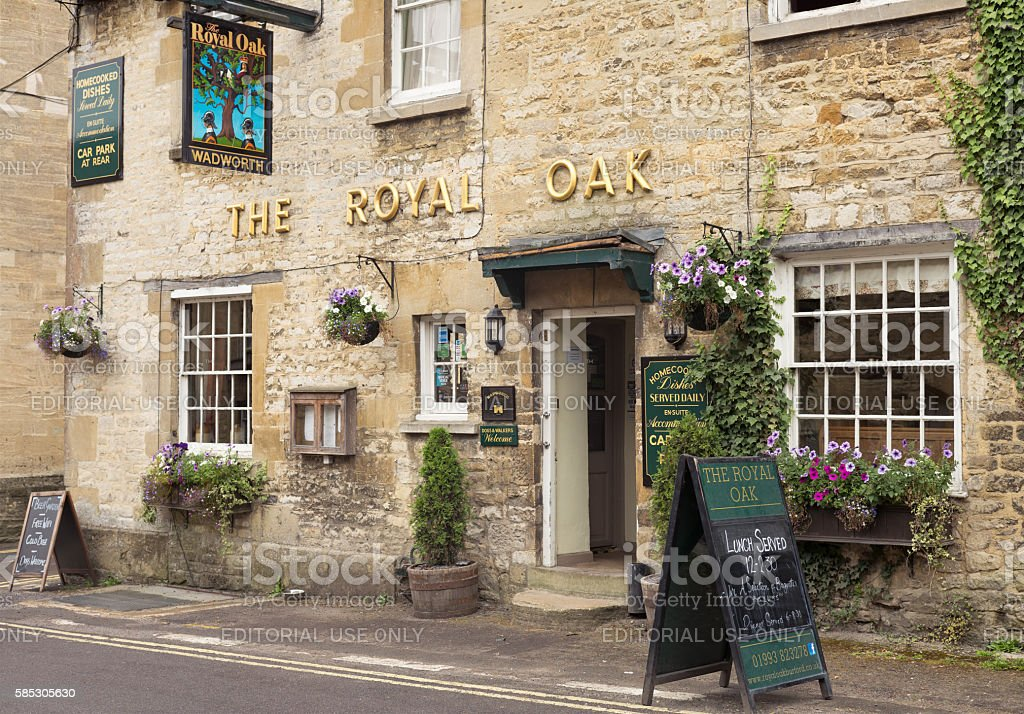 The Royal Oak - traditional English pub in the Cotswolds stock photo