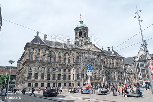 Amsterdam, Netherlands - June 7, 2019: The Royal Palace of Amsterdam.