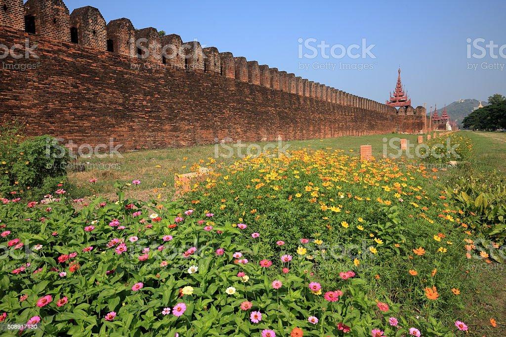 The Royal Palace of Mandalay in Myanmar stock photo
