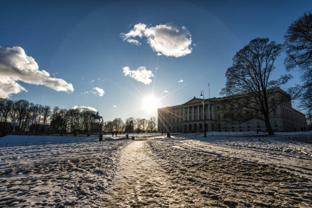 The Royal Palace of Norway in the city of Oslo stock photo