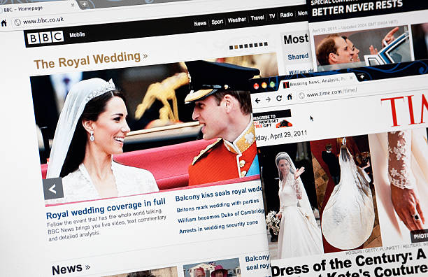 The Royal Wedding on BBC.com, TIME.com and CNN.com Web Pages  time magazine stock pictures, royalty-free photos & images