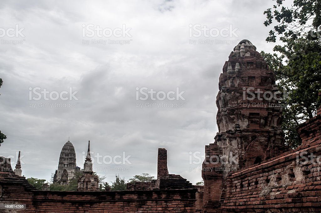 The ruin temple in ayutthaya stock photo