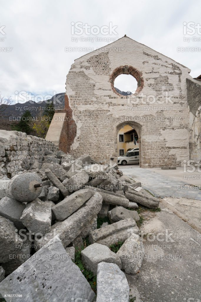 the ruined church of St. John the Baptist in Venzone stock photo