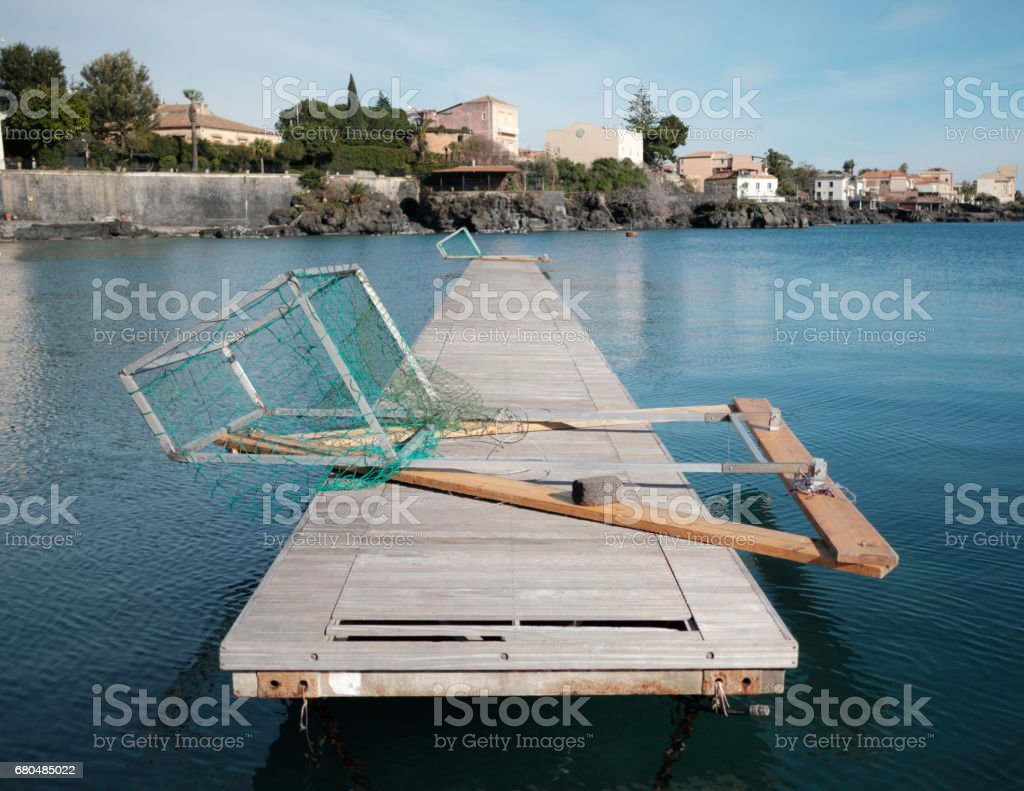 The ruined wharf stock photo