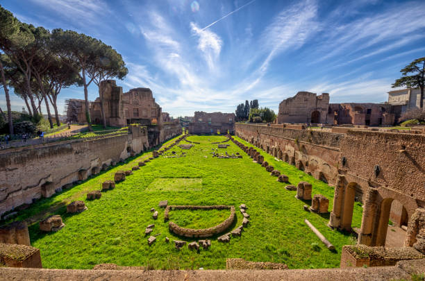 The ruins of a fountain in the Domus Augustana in Rome, Italy The ruins of a fountain in the Domus Augustana in Rome, Italy palatine hill rome stock pictures, royalty-free photos & images